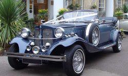 1930's style 2 door beauford open-top convertible tourer in Arctic and Teal Blue 1