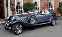 1930's style 2 door beauford open-top convertible tourer in Arctic and Teal Blue 2