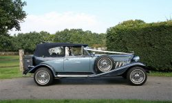 1930's style 2 door beauford open-top convertible tourer in Arctic and Teal Blue with roof up 3