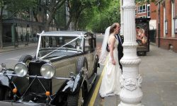 1934 Vintage Roesch Talbot '95' in Black and Ivory with Bride and Father