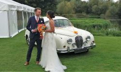 1961 Jaguar MK II in Old English White with Bride and Groom 2.1