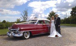 1950 Cadillac 4 door Saloon in Cream over Red 2 en