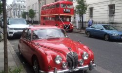 1964 Red MK II Jaguar with chrome wire-wheels 4