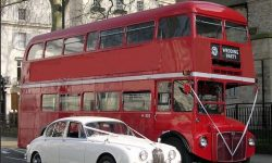 Special order Red Routemaster Bus with White MK II Jaguar 03