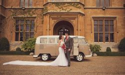 VW Campervan in White over Beige with Bride and Groom