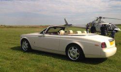 Modern Rolls Royce Phantom II convertible in Corniche White