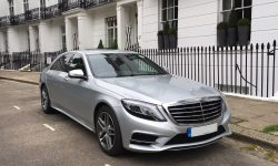 latest shape Silver LWB (long wheelbase model) S Class Mercedes with private plate 2