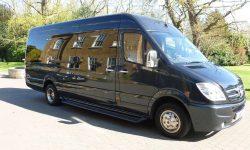 13 passenger Party Bus in Blue (Black tint windows)