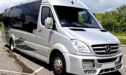 Mercedes 16 passenger Party Bus in Silver 2