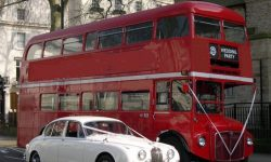 Red Routemaster Bus with White MK II Jaguar