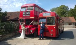 Red Routemaster and Single Deck London Transprort Buses with Bride and Groom